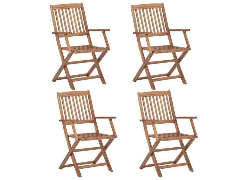 Distingué sièges de jardin edition asuncion chaises pliables d'extérieur 4 pcs bois d'acacia solide