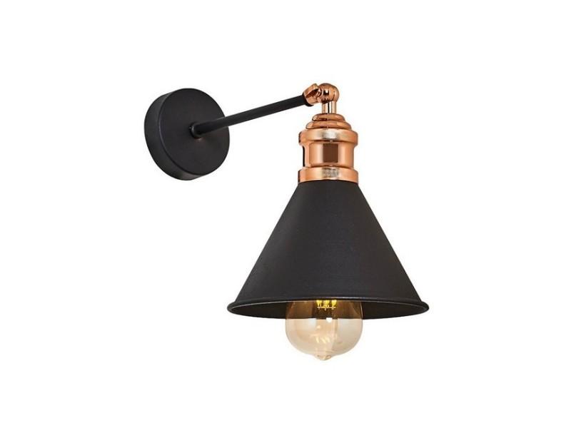 Homemania lampe murale zil applique - noir en métal, 17 x 26 x 28 cm, 1 x e27, 40w