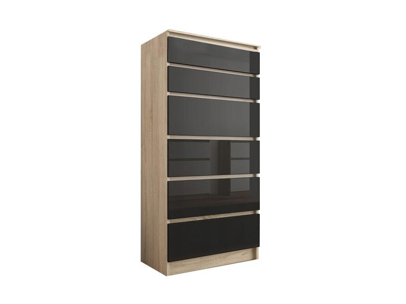 Sofia s2 | commode contemporaine chambre salon bureau | 128x70x40 | dressing 6 tiroirs | meuble de rangement scandinave | sonoma/noir laqué