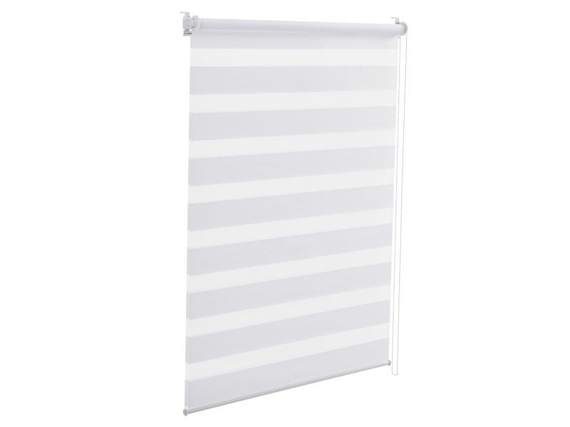Store enrouleur zébré stylé sans perçage pour tamiser la lumière store à chainette latérale réglage en continue bandes de tissu polyester 100 x 150 cm blanc [en.casa]