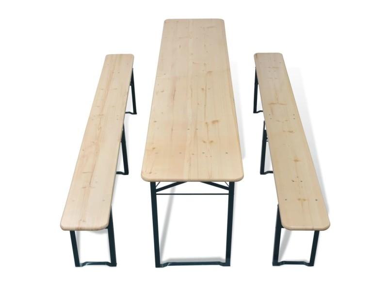 Icaverne - ensembles de meubles d'extérieur collection table avec 2 bancs 220 cm bois de sapin