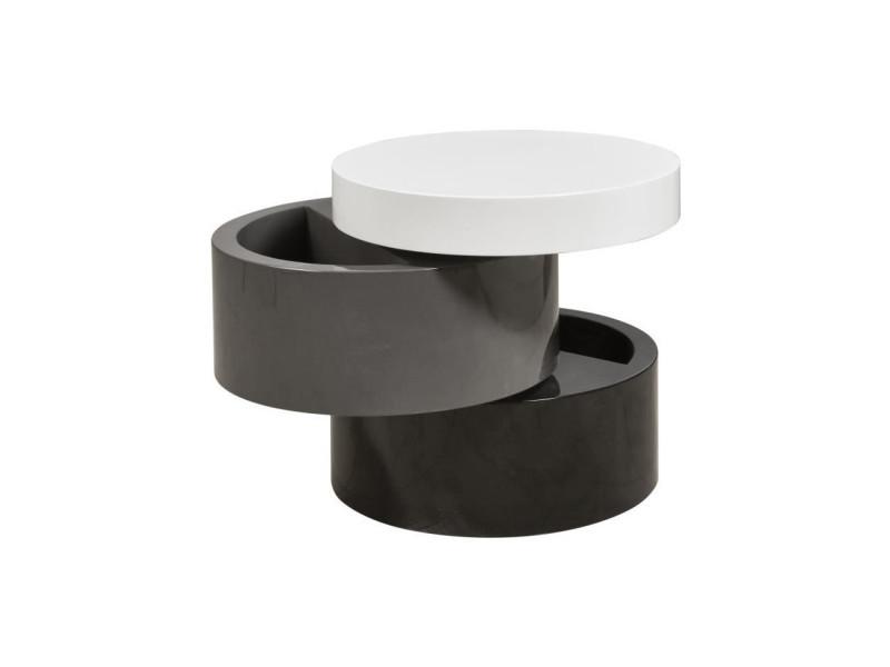 Vigan table basse ronde style contemporain noir, gris et blanc mat - l 50 x l 50 cm