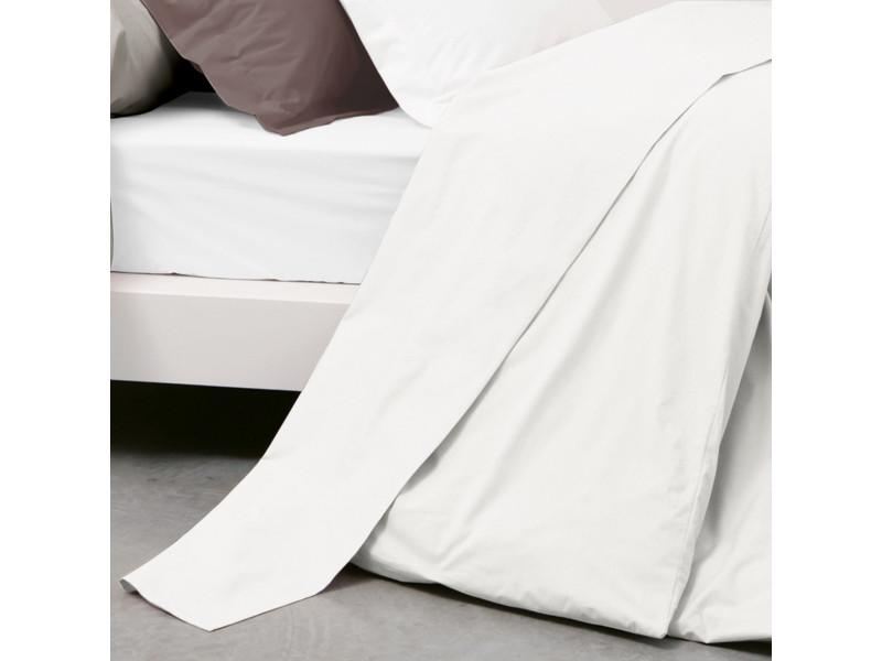Drap plat uni 240x310 cm pur percale primo blanc