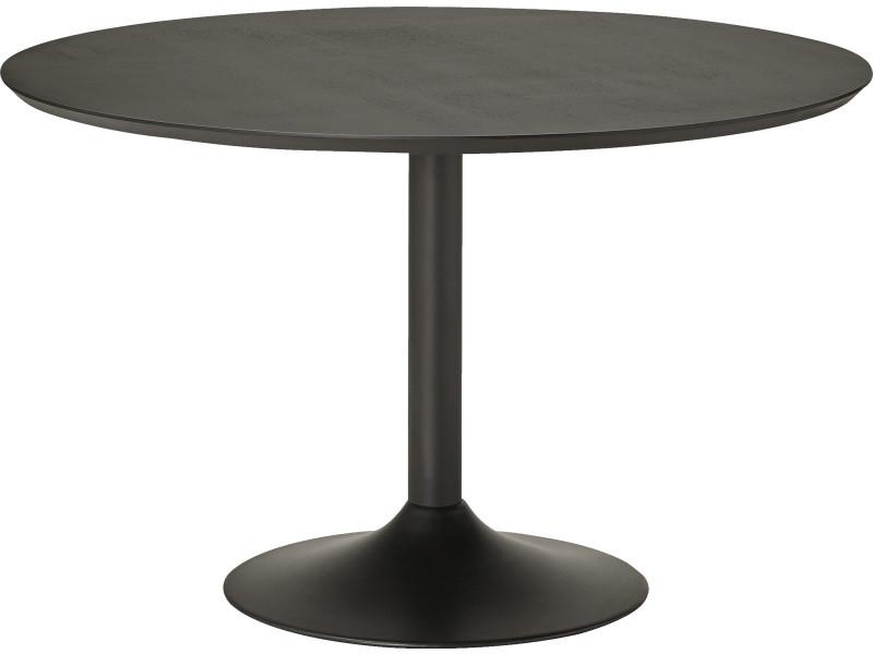 Table à manger ronde coloris noir - 120 x 120 x 77,5 cm -pegane-