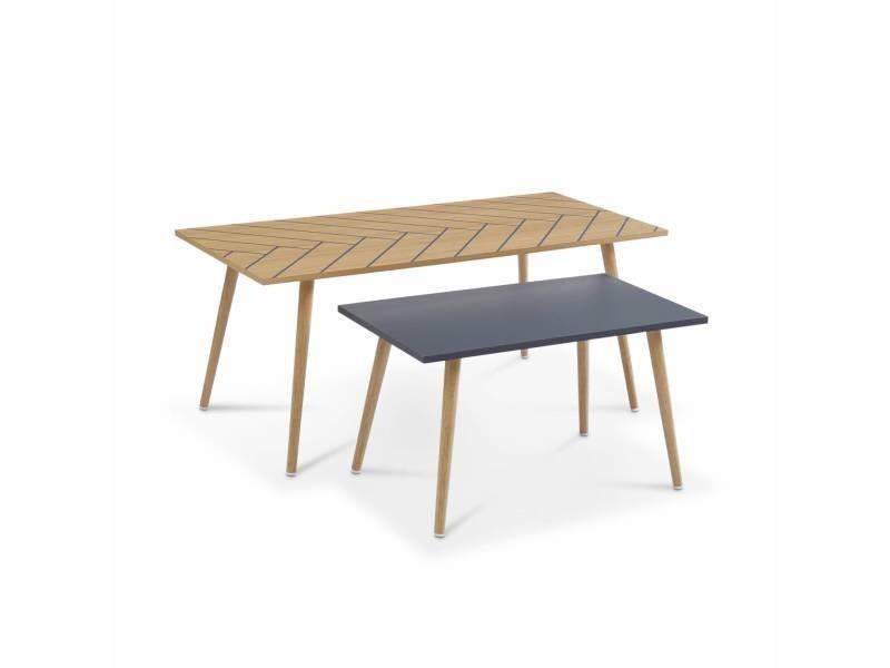 Lot de 2 tables basses couleur naturel et gris - 110x50x45.5cm et 70x40x39cm - etnik - piétement en bois massif d'eucalyptus. Design scandinave