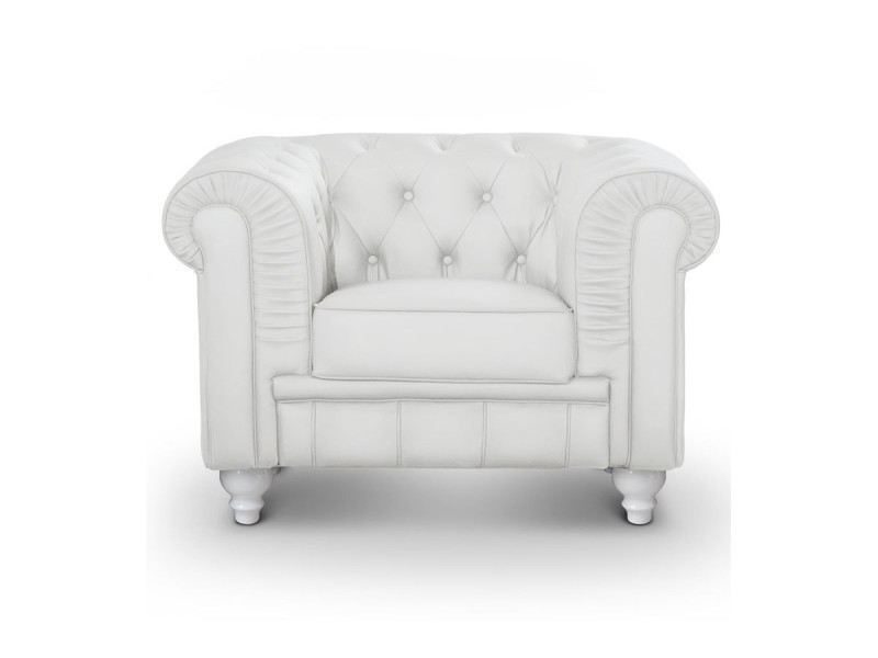 fauteuil chesterfield cuir pu blanc conforama. Black Bedroom Furniture Sets. Home Design Ideas