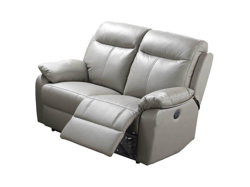 Ticory - canapé relax electrique 2 places gris
