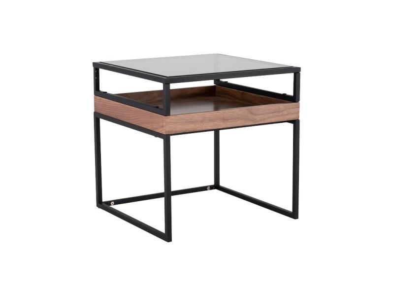 Table d'appoint bout de canapé bois métal et verre - endosofa 4087