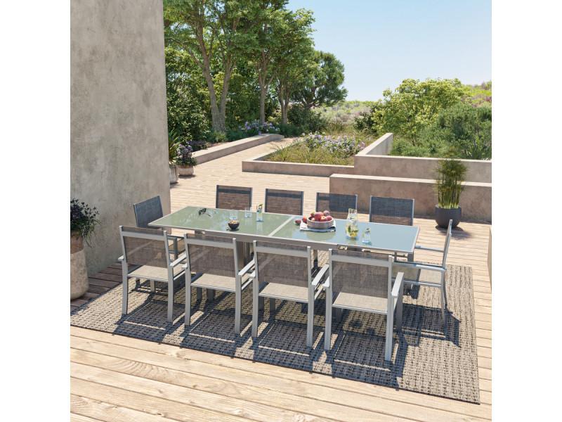 Table de jardin extensible aluminium 140/280cm + 10 fauteuils textilène argentée - hara xl
