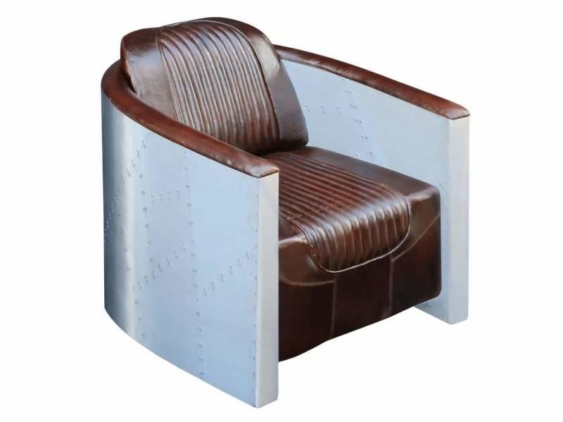 Fauteuil chaise siège lounge design club sofa salon 79 x 71 x 90 cm cuir véritable marron foncé helloshop26 1102314