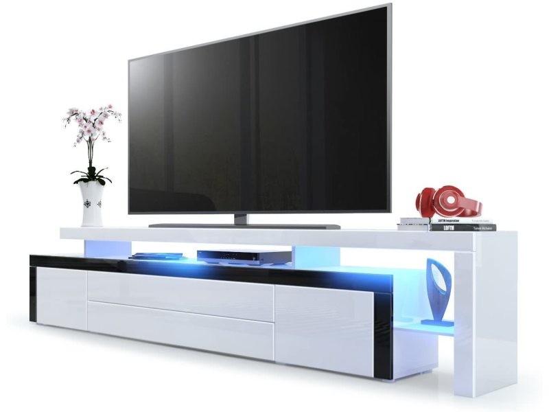 Meuble tv blanc / noir laqué 227 cm