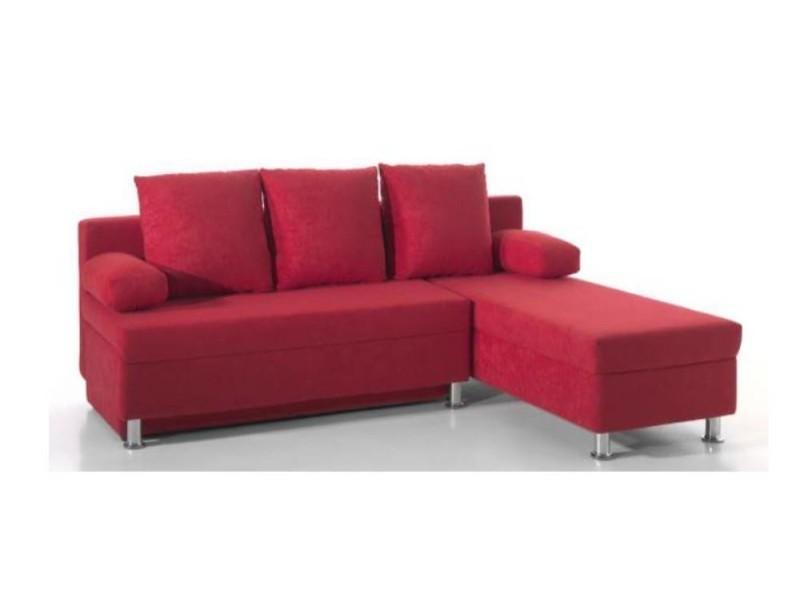 Canapé d'angle convertible zaurak en microfibre rouge 20100865683