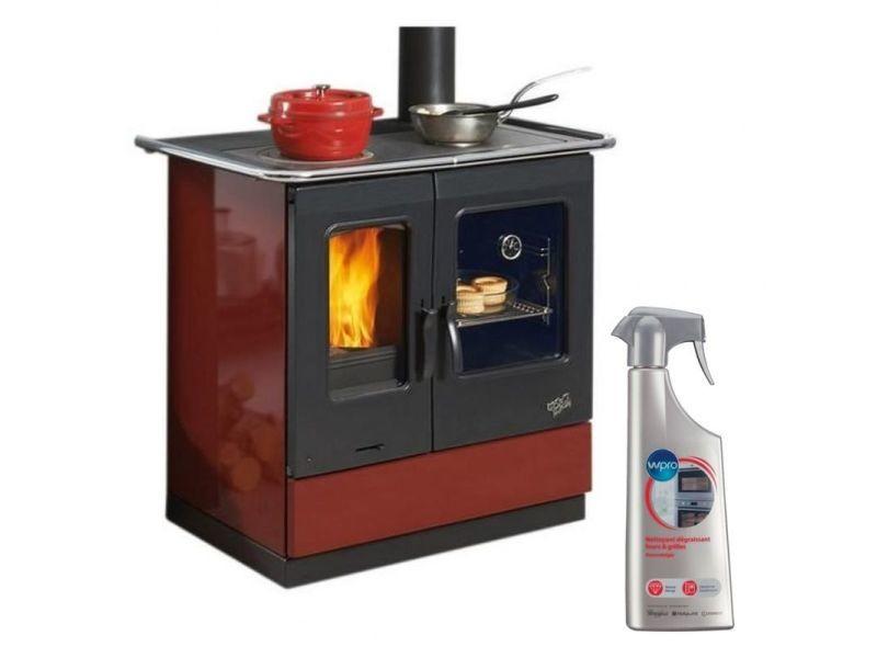 Cuisinière à bois armonnie largeur 95cm acier carmin dessus fonte emaillée vision flamme