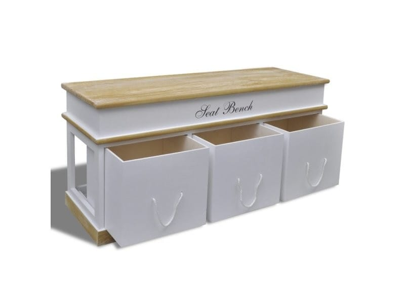 banquette banc coffre de rangement 100 cm blanc. Black Bedroom Furniture Sets. Home Design Ideas