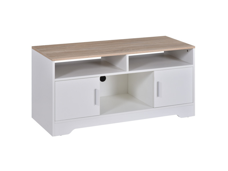Meuble tv banc tv en bois grand espace de rangement avec 2 compartiments ouverts 2 armoires à porte une armoire ouverte 105 x 40 x 52 cm blanc