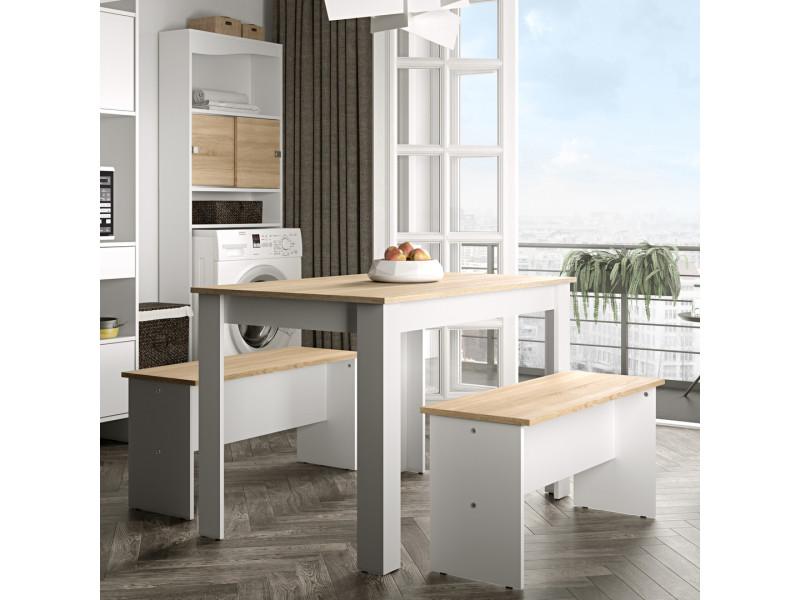 Table et bancs nice - blanc et chêne naturel 2281A2134X00