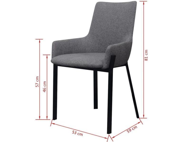 Lot de deux chaises 2 pcs en tissu gris clair helloshop26