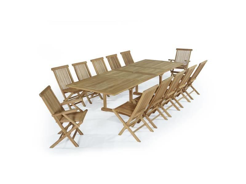 Salon de jardin en teck ecograde thira, table extensible 2 à 3 m + ...