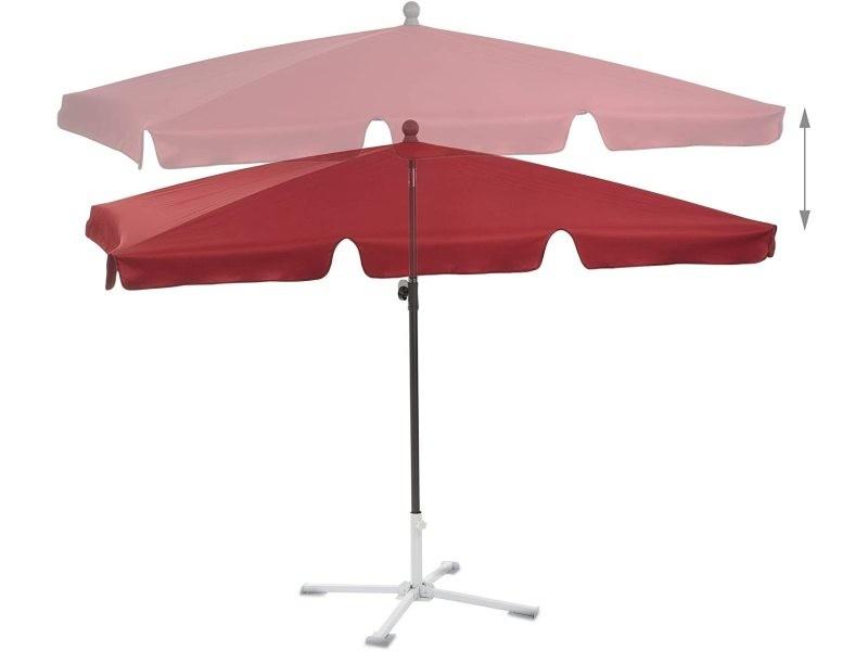 Parasol rectangulaire de plage de jardin hauteur réglable inclinable 200 x 120 cm bordeaux helloshop26 13_0001935