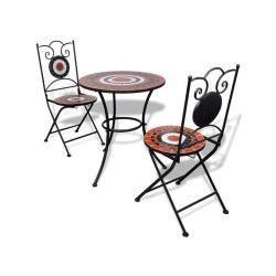 Vidaxl set de bistro mosaïqué table 60 cm et 2 chaises terre cuite/blanc