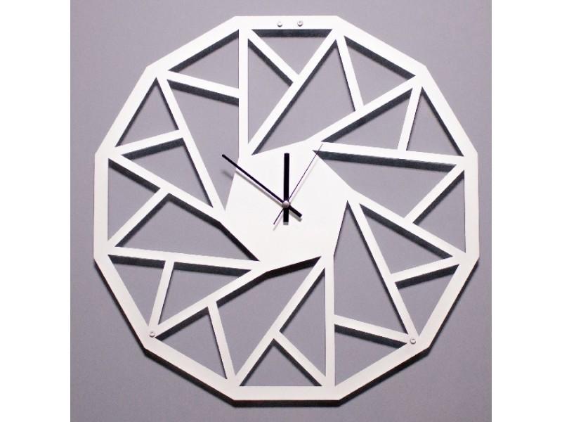 Homemania horloge de wall - avec portes, étagères, tablettes - pour le salon, le bureau - blanc en métal, 50 x 0,15 x 50 cm