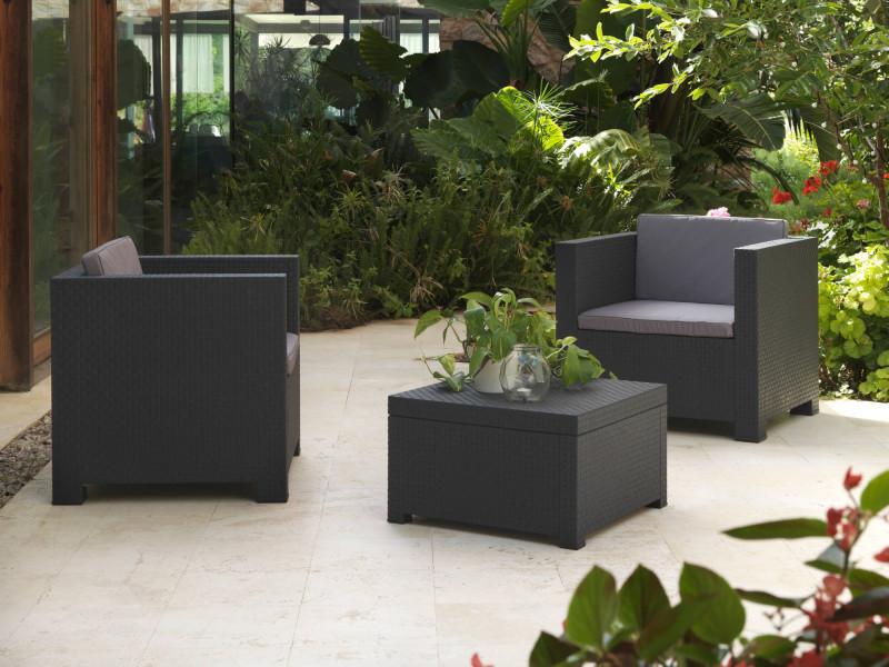 Figari - salon bas de jardin 2 places - en résine tressée injectée - noir avec coussins gris couleur - noir