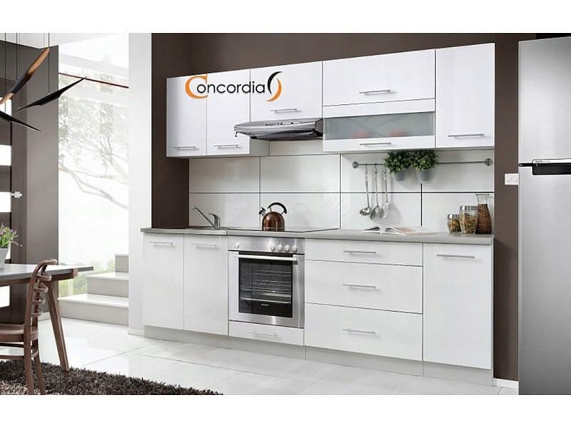 Elm 260 - cuisine complète l 2,6 m - 8 pcs + plan de travail inclus - ensemble meubles cuisine linéaire + armoire four encastrable - blanc