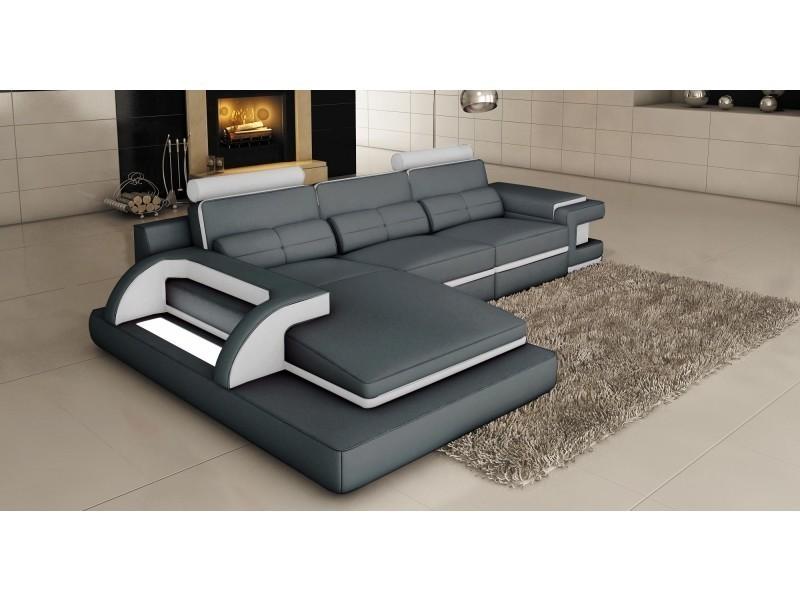 Canapé d'angle cuir gris et blanc design avec lumière ibiza (angle gauche)-