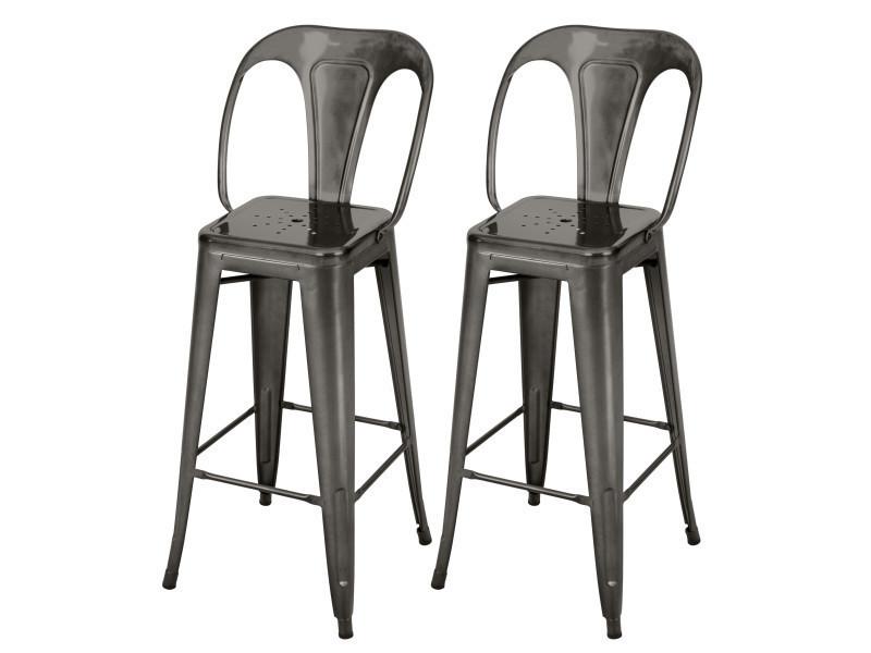 Chaise de bar indus gris anthracite 66 cm (lot de 2)