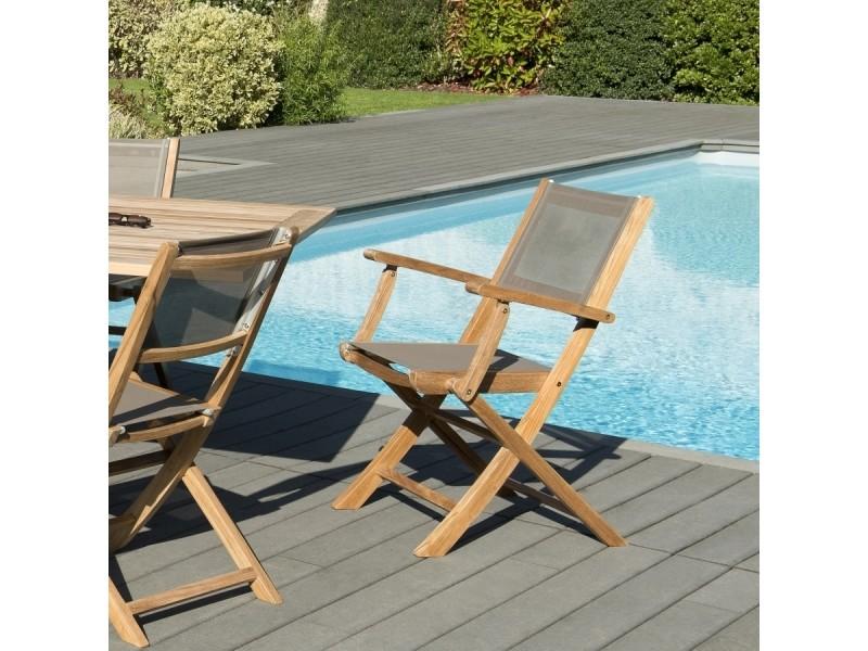 Ensemble de 2 fauteuils de jardin pliants en bois teck et textilène couleur taupe.