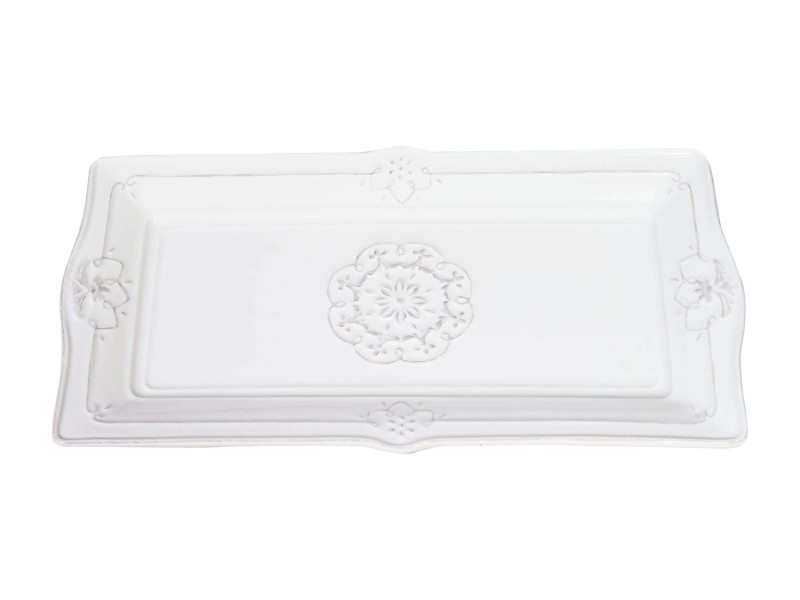 Plateau rectangulaire shabby style en porcelaine blanche l31,5xpr16,5xh2,5 cm