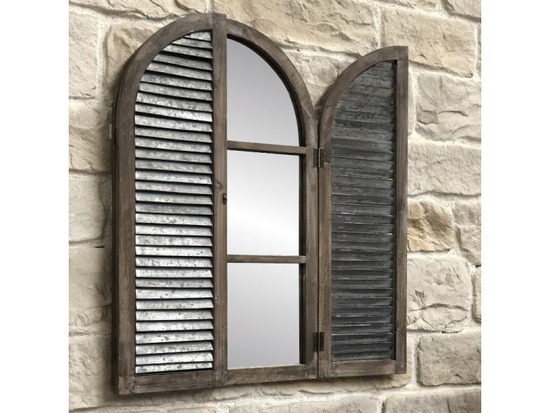 Miroir Volet Fenêtre Campagne Industriel Bois Métal Zinc 90 Cm
