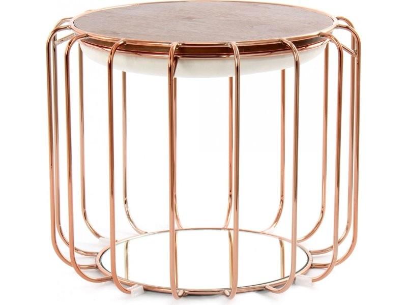 Pouf reverse table d'appoint confortable copper LHCQI