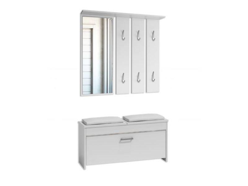 Cremona - meuble d'entrée contemporain avec coussin 38x100x46 - banc de rangement à chaussures 6 crochets/miroir - vestiaire - blanc
