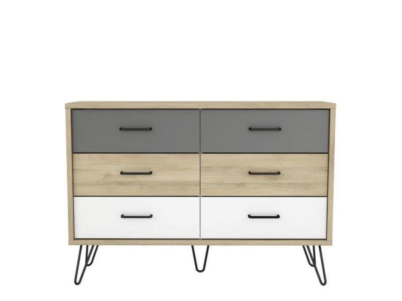Commode de chambre filea commode 6 tiroirs - décor chene kronberg blanc et gris - l 116,7 x p 42,3 x h 81,5 cm