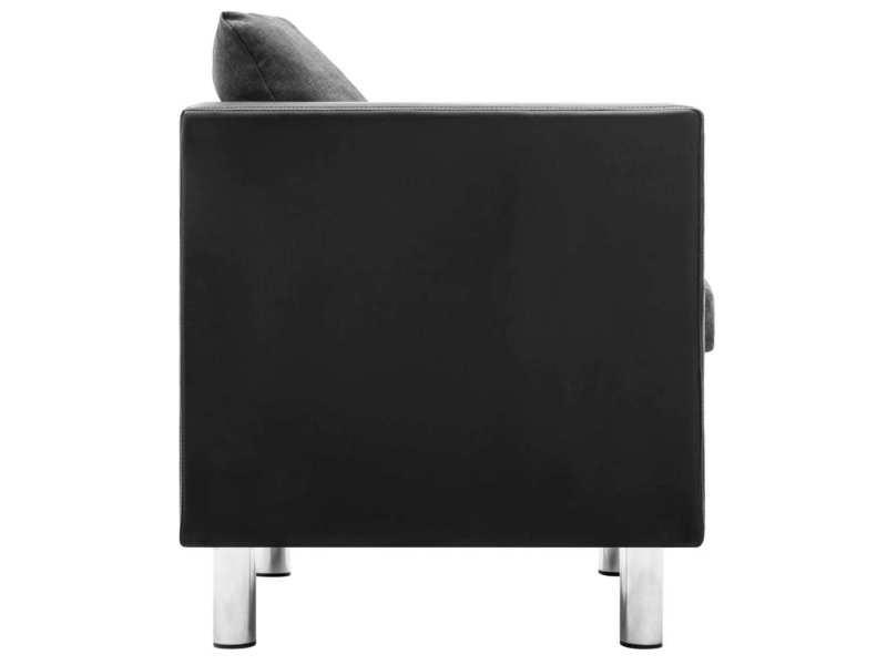 Vidaxl canapé à 3 places simili-cuir noir et gris clair 247166