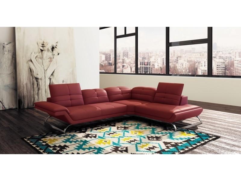 Canapé d'angle design en cuir rouge aurore (angle droit)-