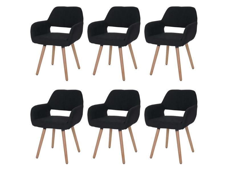 6x chaise de salle à manger altena ii, fauteuil, design rétro des années 50 ~ tissu, noir