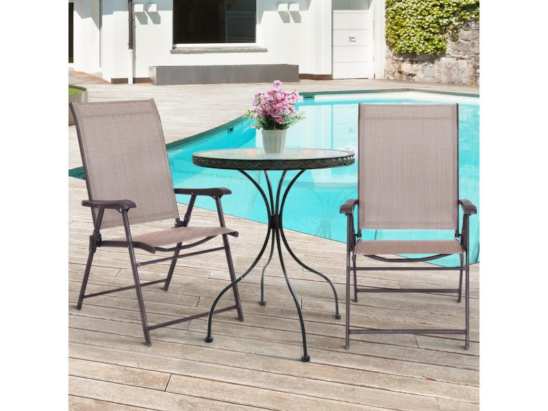 Giantex lot de 2 chaises de jardin pliantes et portables avec accoudoirs, siège en textilène respirante confortable, cadre en acier pour jardin, terrasse ou bord de la piscine,balcon, brun