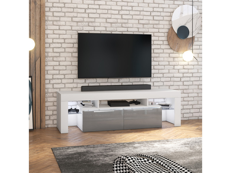 Meuble tv - vergon - blanc mat / gris brillant - avec led