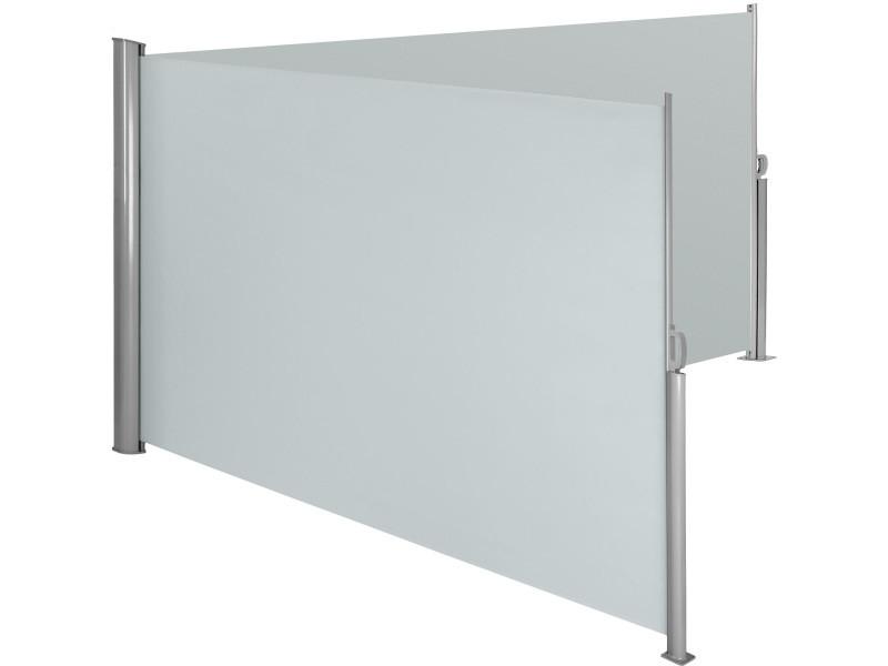 Tectake paravent rétractable double - 200 x 600 cm - gris 402337