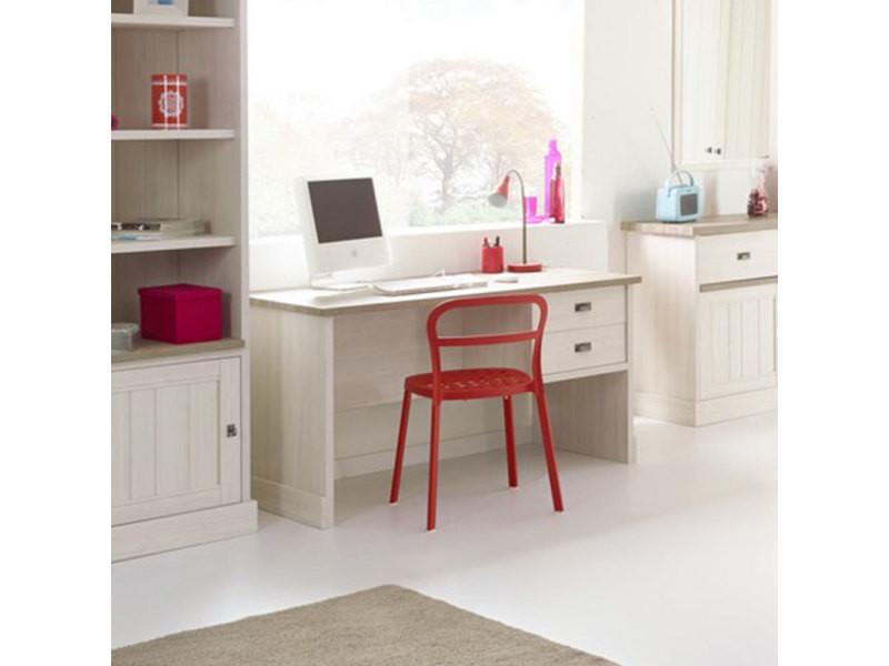 Bureau couleur blanc et bois yuka vente de nouvomeuble conforama