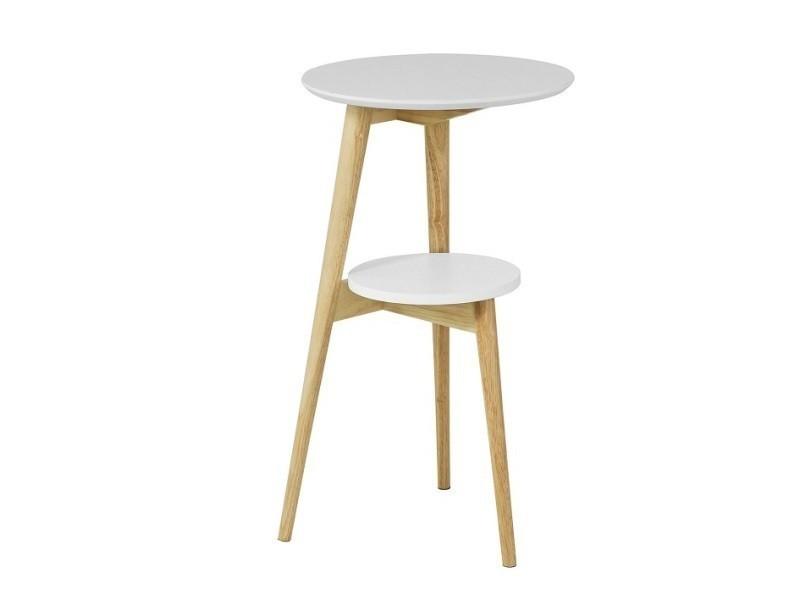 Table d'appoint design table basse table café ronde - 2 plateaux - 3 pieds fbt39-w sobuy®