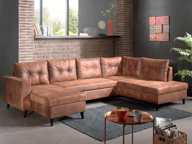Nordic - canapé panoramique en u - 7 places - convertible - industriel vintage - angle droit couleur - marron