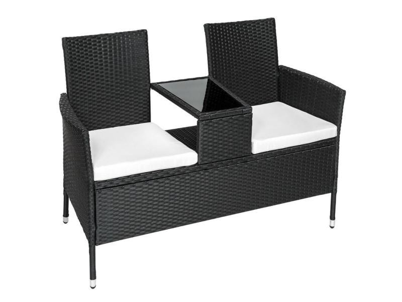 banc de jardin en r sine tress poly rotin table coussins noir helloshop26 2108023 vente. Black Bedroom Furniture Sets. Home Design Ideas