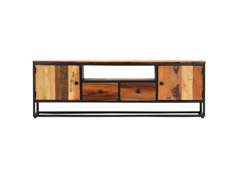 Vidaxl meuble tv 120 x 30 x 40 cm bois de récupération massif et acier 282726