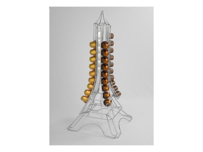 Porte capsules tour eiffel - 40 capsules - 25,2 x 27 x 57 cm - chrome