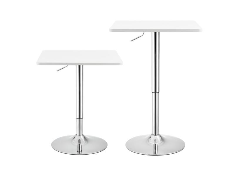 Table de bar carrée bistrot design robuste à hauteur réglable mdf chrome 60 x 60 cm blanc [en.casa]