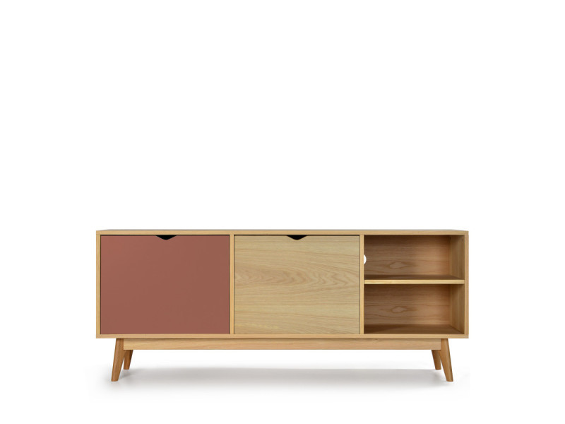 Ström - meuble tv design 2 portes chêne - couleur - terracotta