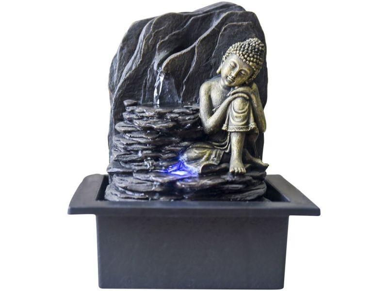 Cadeaux pour Les Amis pour la Bonne Chance Fontaine deau en r/ésine Unique pour la Maison et Le Bureau Nannday Fontaine de Table Bouddha Sculpture d/écorative avec lumi/ère LED EU 220V